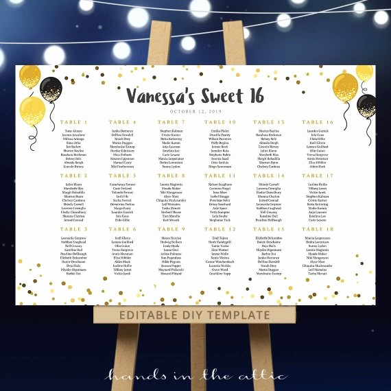 Sweet 16 Guest List Template New Wedding Seating Chart Template Sweet 16 Birthday Festive