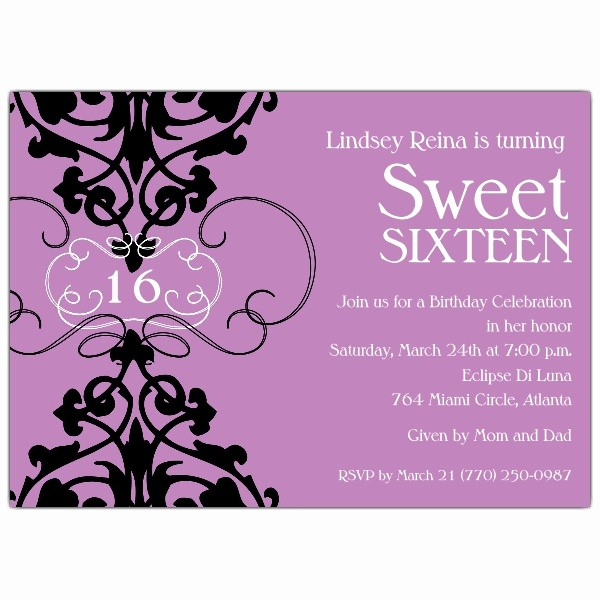Sweet 16 Guest List Template Unique Fleur Lavender Sweet 16 Invitations