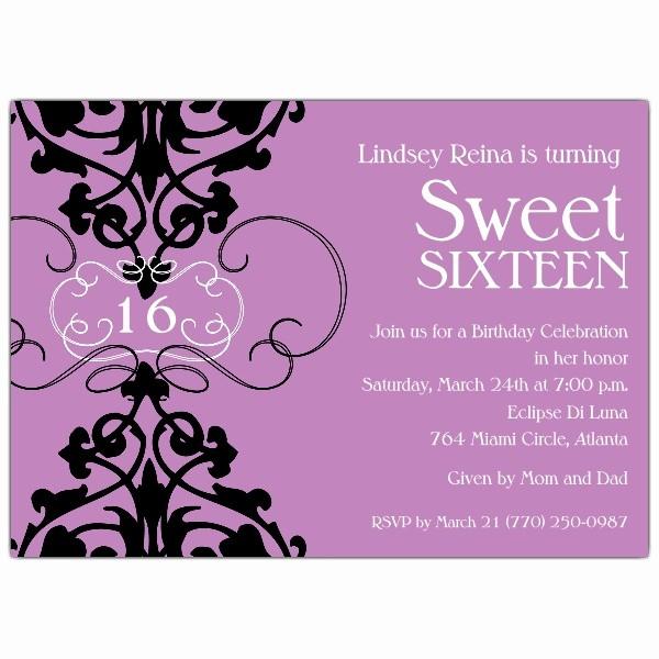 Sweet 16 Guest List Template Unique Fleur Lavender Sweet 16 Invitations