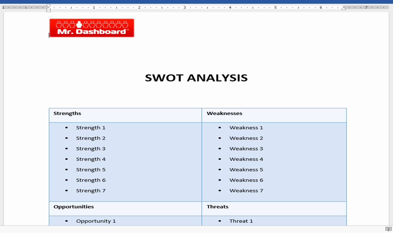 Swot Analysis Template Microsoft Word Lovely Swot Analysis Template Examples and Definition – Mr Dashboard