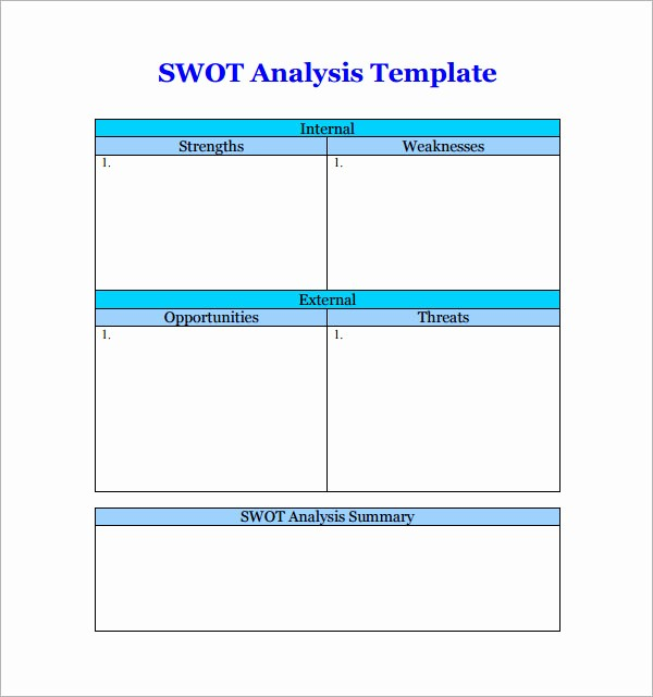Swot Analysis Template Microsoft Word Unique Swot Analysis Templates 14 Download Documents In Pdf Word