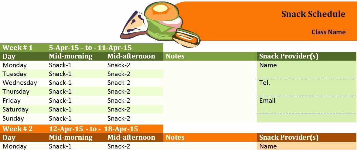T Ball Snack Schedule Template Beautiful Snack Schedule Template – Superscripts