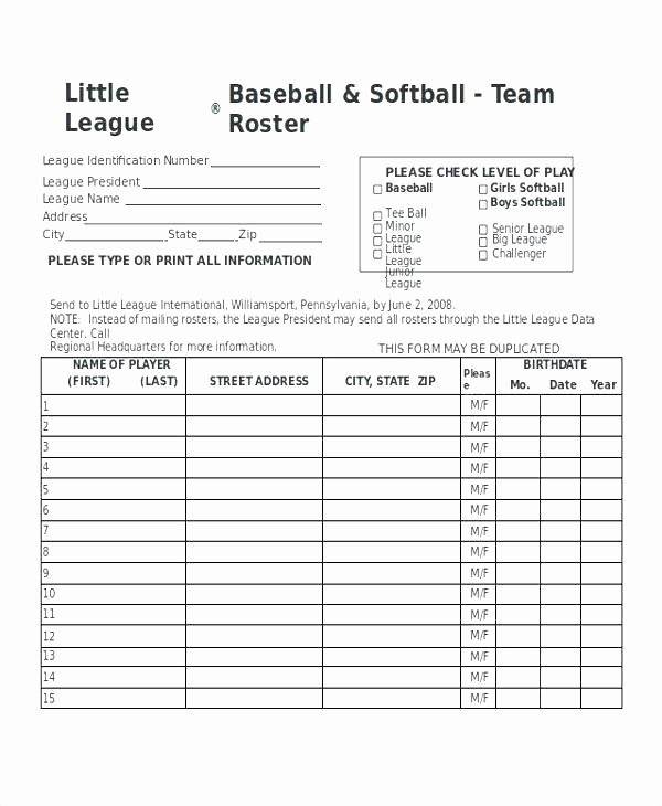 T Ball Snack Schedule Template Elegant Team Roster Template – Russdfo