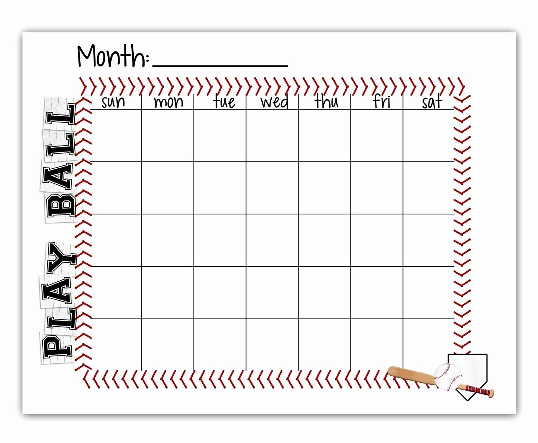 T Ball Snack Schedule Template Elegant Tee Ball Baseball Schedule Blank Calendar Free Printable