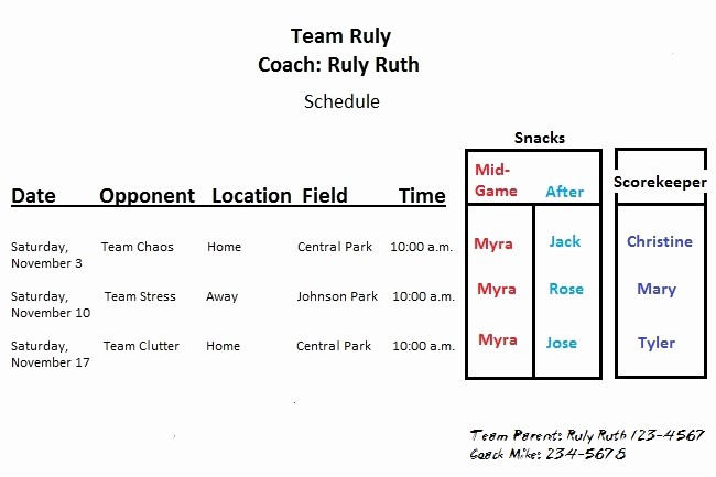 T Ball Snack Schedule Template Inspirational Youth Football Roster Template Lovely the Team