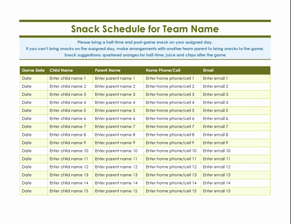 Youth sports snack sign up sheet TM