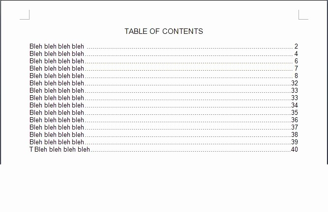 Table Of Contents Blank Template New 4 Table Contents Templates Excel Xlts