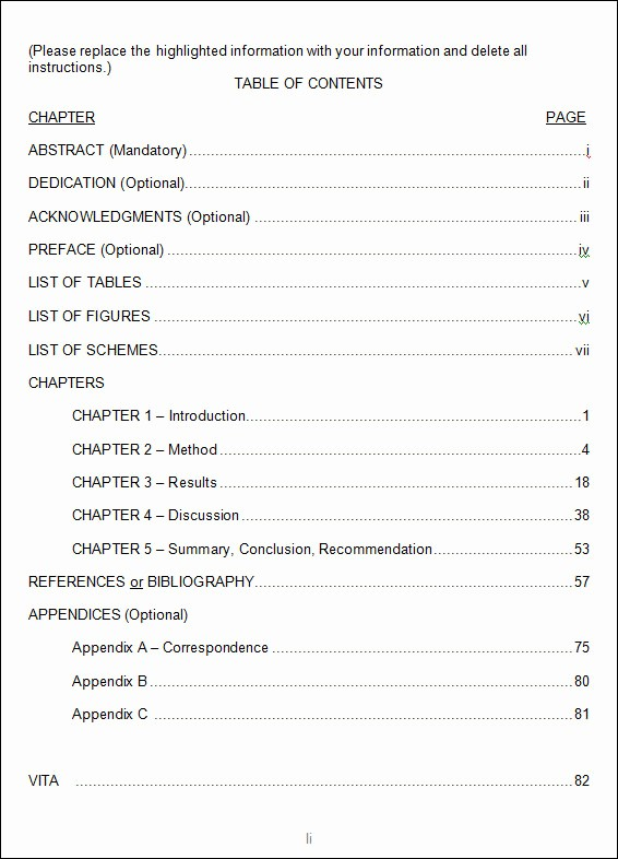 Table Of Contents Blank Template New Table Contents Outline Template Beautiful Template