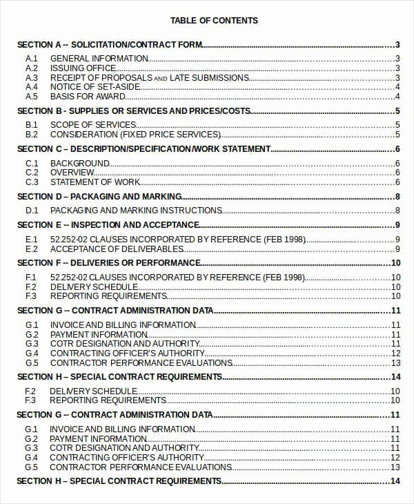 Table Of Contents Excel Template Elegant Table Content 10 Free Word Documents Download