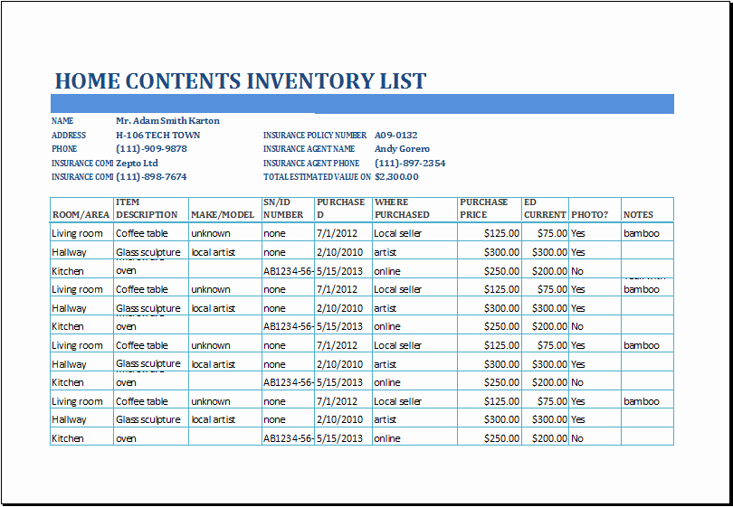 Table Of Contents Excel Template Lovely Excel Home Contents Inventory List Template