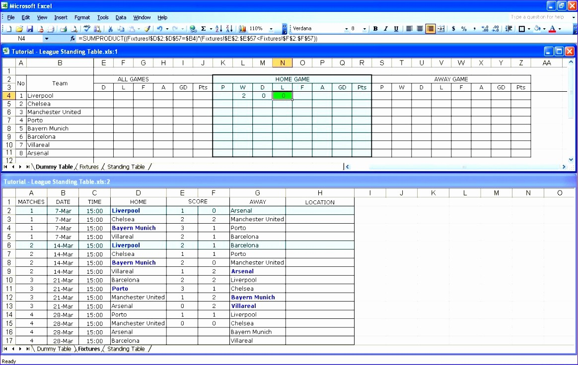 Table Of Contents Excel Template New 10 Excel League Table Template Exceltemplates