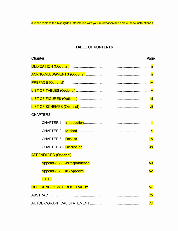Table Of Contents Sample Page Awesome Table Contents Template