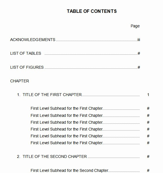 Table Of Contents Sample Page Best Of 10 Best Table Of Contents Templates for Microsoft Word