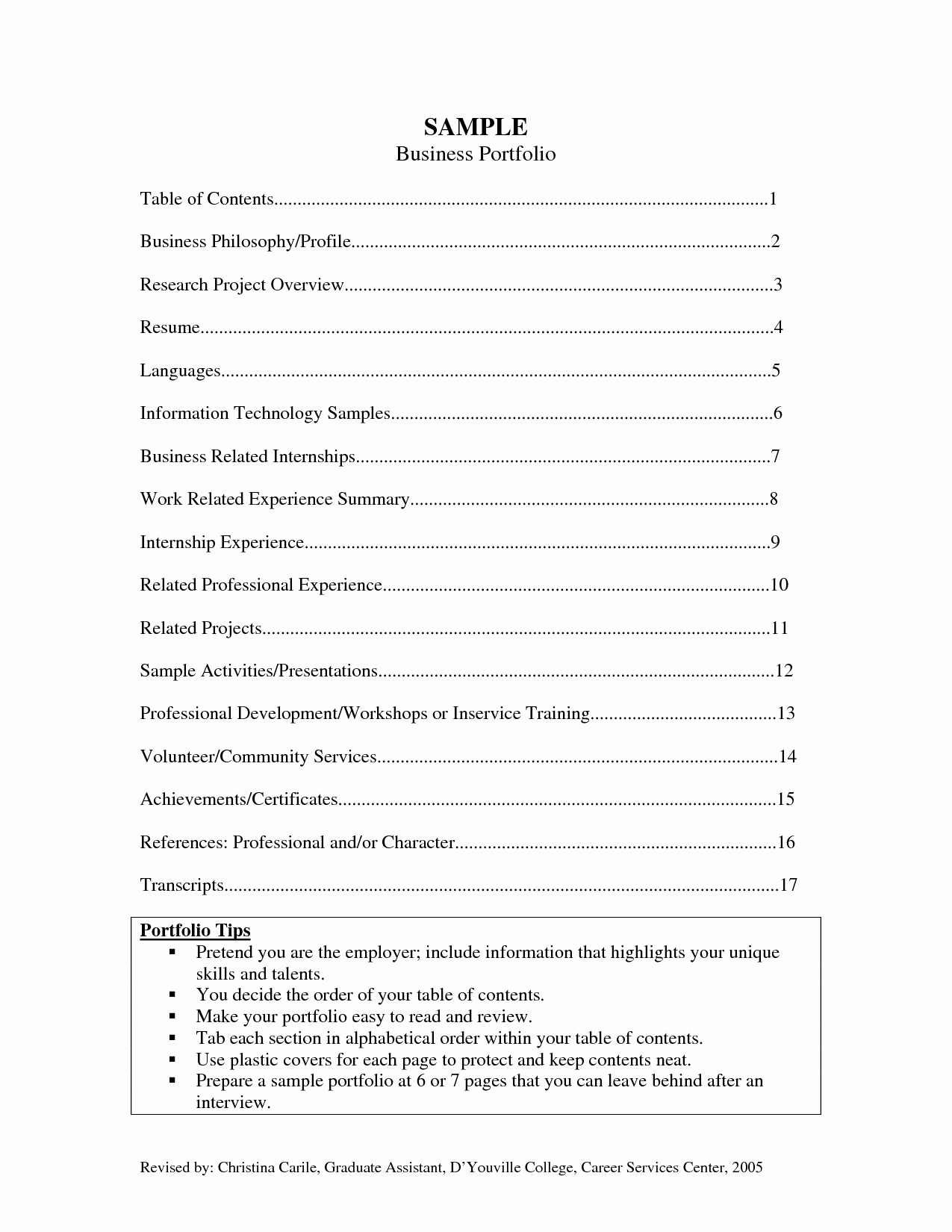 Table Of Contents Sample Page Lovely Best S Of Career Portfolio Samples Job Portfolio