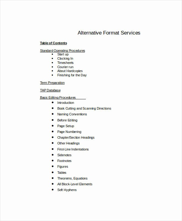 Table Of Contents Sample Page Lovely Table Content 10 Free Word Documents Download