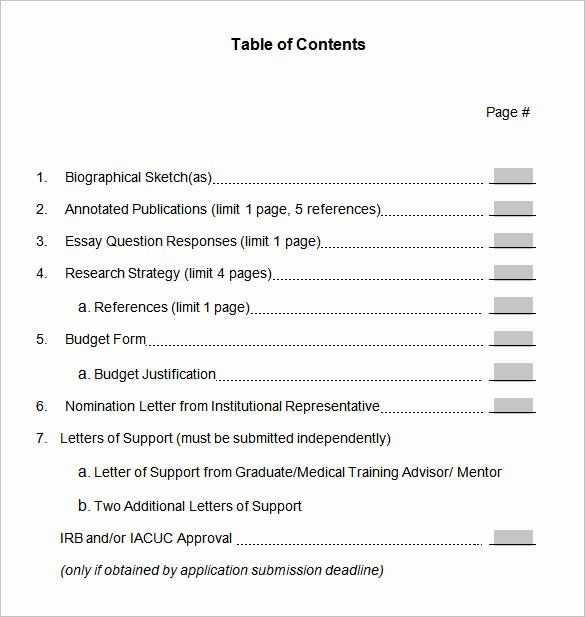 Table Of Contents Template Pdf Elegant Floridaframeandart