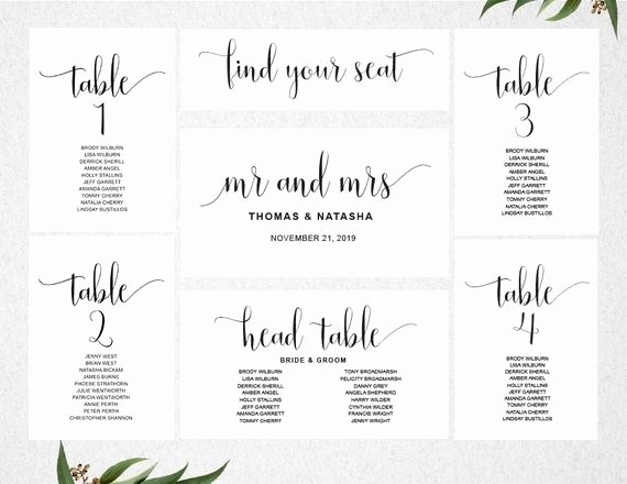 Table Seating Chart Template Free Awesome Wedding Seating Chart Template Instant Download Seating