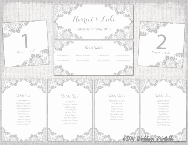 """Table Seating Chart Template Free Inspirational Wedding Seating Chart Template Silver Gray """"antique Lace"""
