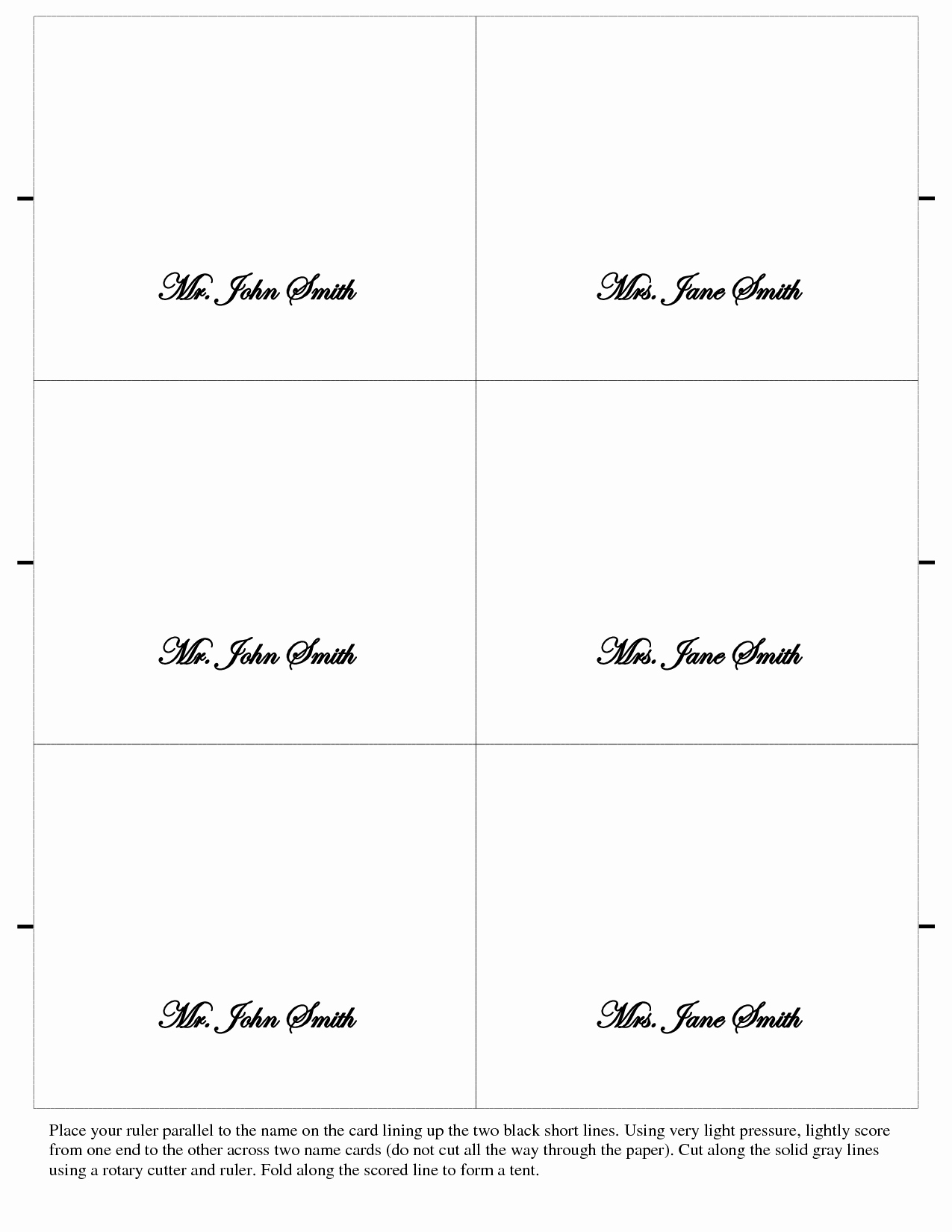 Table Tent Name Cards Template Fresh 7 Best Of Free Printable Table Place Cards Template