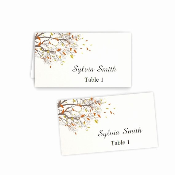 Table Tent Template Microsoft Word Luxury Fall Branches Folded Table Tent & Flat Place Card Templates