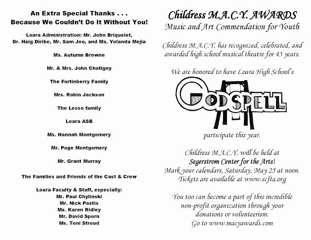 Talent Show Program Template Free Fresh Loara High School Loara theatre Arts Macy Awards