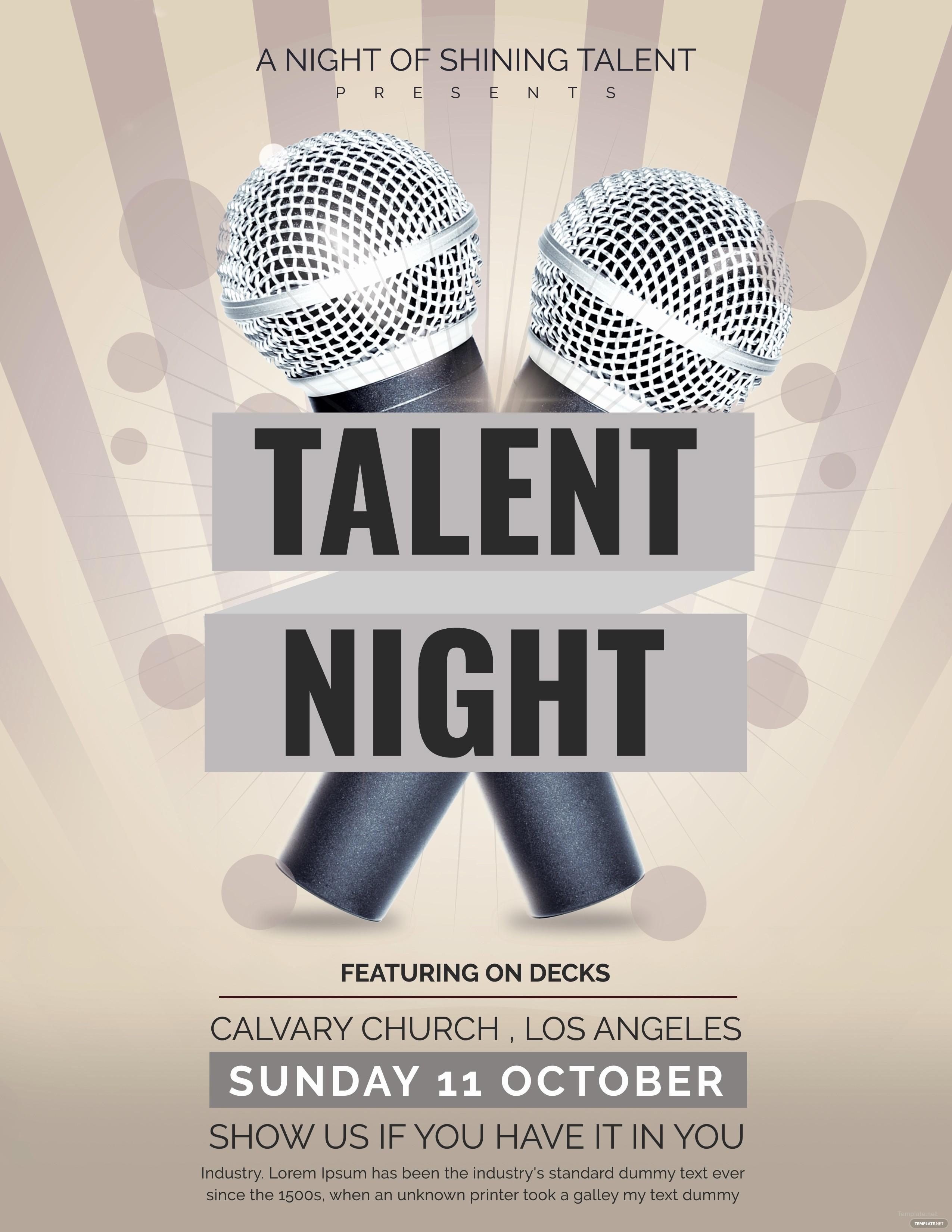 Talent Show Program Template Free Inspirational Free Talent Show Flyer Template In Adobe Shop