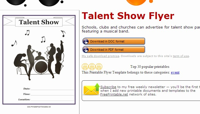 Talent Show Program Template Free New July 2014