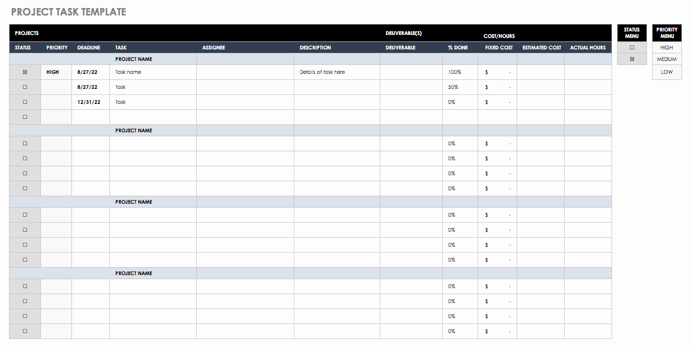 Task List Template Excel Spreadsheet Awesome Free Task and Checklist Templates