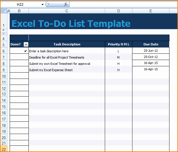Task to Do List Template Awesome 5 Excel Task List