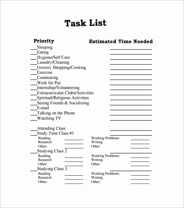 Task to Do List Template Fresh 43 Free Task List Templates In Word Excel Pdf