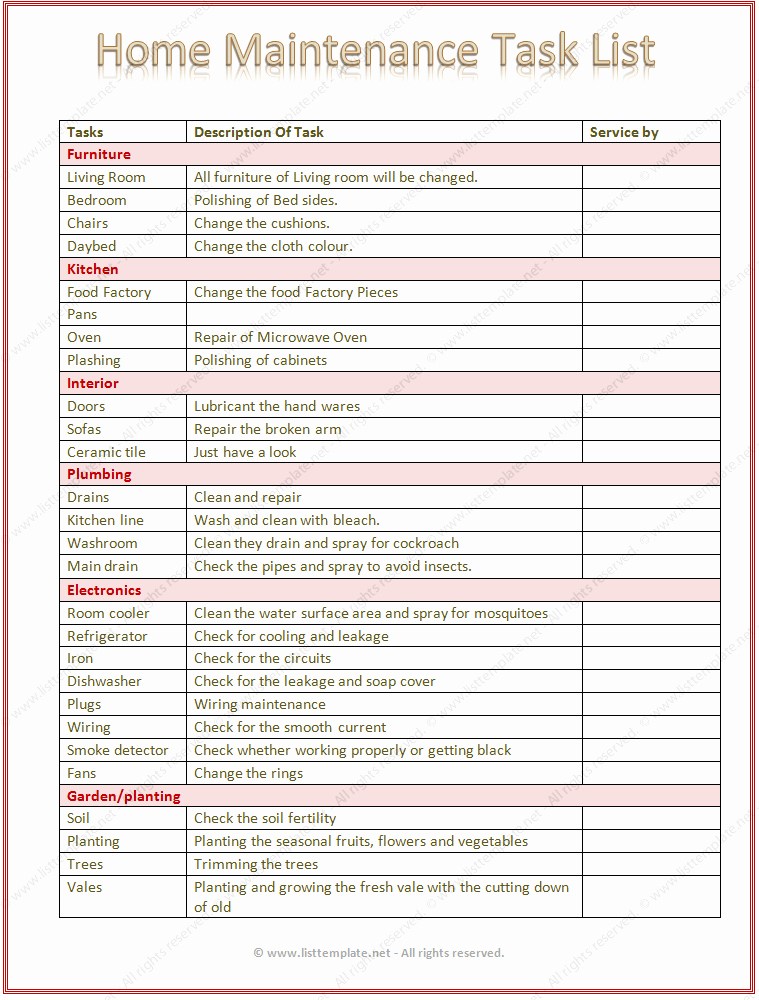 Task to Do List Template Inspirational Home Maintenance Task List Template Word