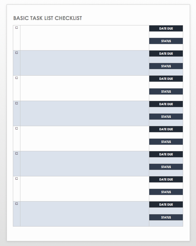 Task to Do List Template Lovely Free Task and Checklist Templates