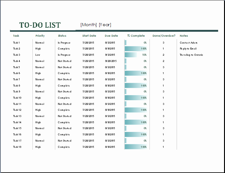 Task to Do List Template Luxury Ms Excel Monthly Task List Template