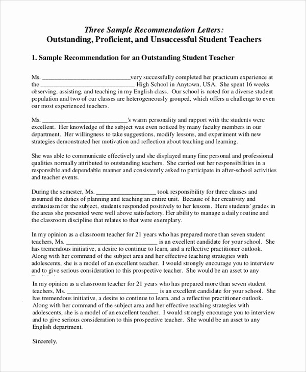 Teacher Letter Of Recommendation Template Elegant 18 Letter Of Re Mendation for Teacher Samples – Pdf