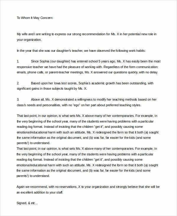 Teacher Letter Of Recommendation Template Elegant 8 Sample Letters Of Re Mendation for Teacher