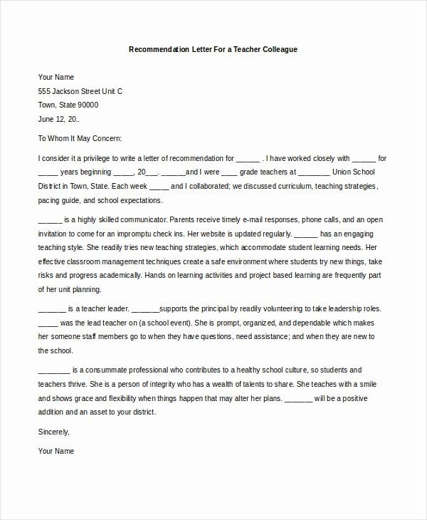 Teacher Letter Of Recommendation Template Elegant Letters Re Mendation for Teachers