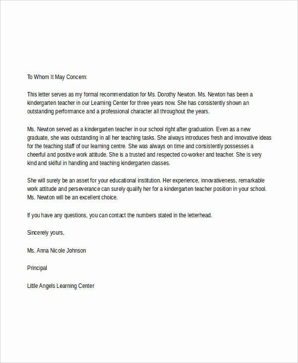 Teacher Letter Of Recommendation Template Inspirational 7 Teacher Reference Letters Free Samples Examples