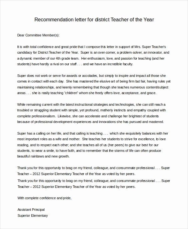 Teacher Letter Of Recommendation Template Inspirational 8 Sample Letters Of Re Mendation for Teacher
