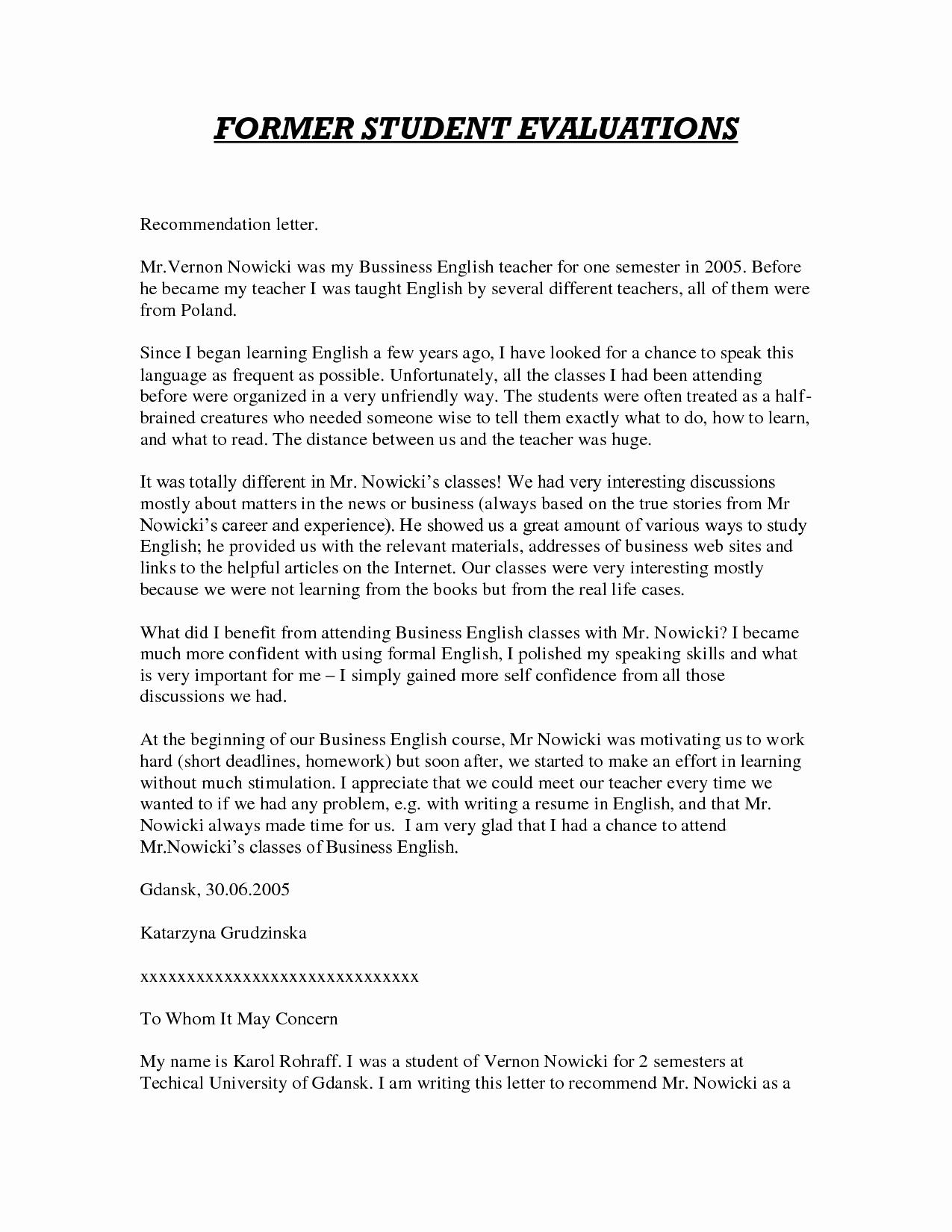 Teacher Letter Of Recommendation Template Inspirational Sample Letter Of Re Mendation for Teacher