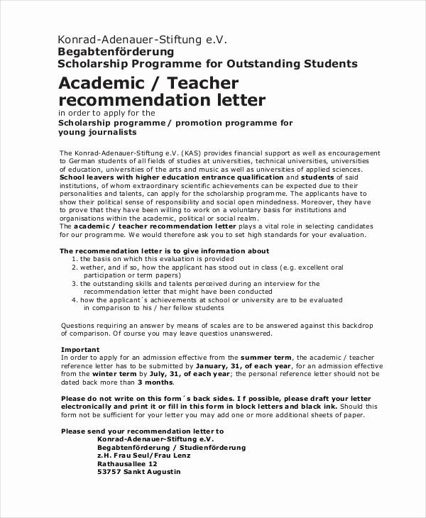 Teacher Letter Of Recommendation Template Inspirational Scholarship Re Mendation Letter Free Sample Example