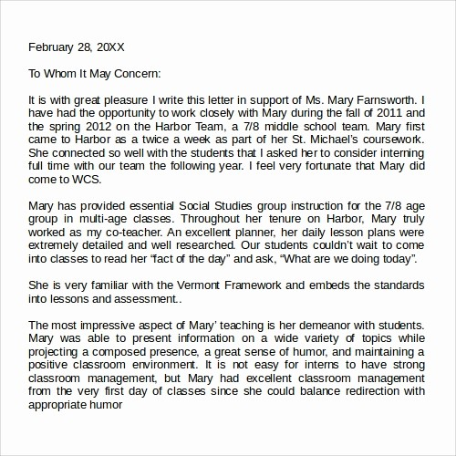 Teacher Letter Of Recommendation Template Lovely 27 Letter Of Re Mendation In Word Samples