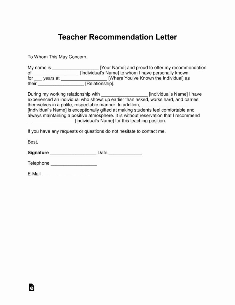 Teacher Letter Of Recommendation Template Lovely Free Teacher Re Mendation Letter Template with Samples
