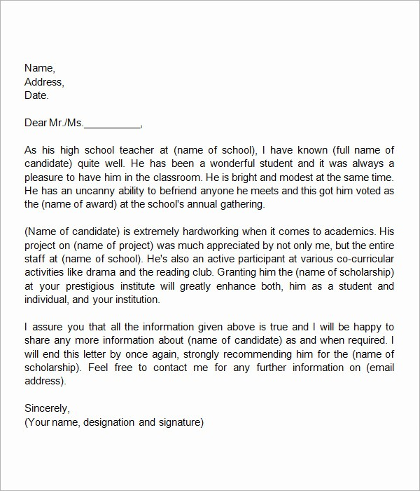 Teacher Letter Of Recommendation Template Luxury 30 Sample Letters Of Re Mendation for Scholarship – Pdf