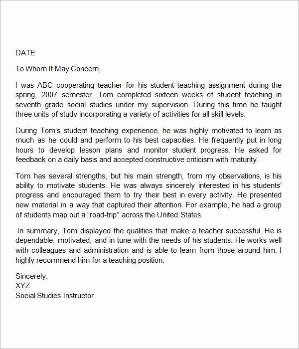 Teacher Letter Of Recommendation Template New 18 Letter Of Re Mendation for Teacher Samples – Pdf