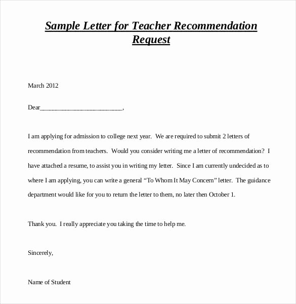 Teacher Letter Of Recommendation Template New 28 Letters Of Re Mendation for Teacher Pdf Doc