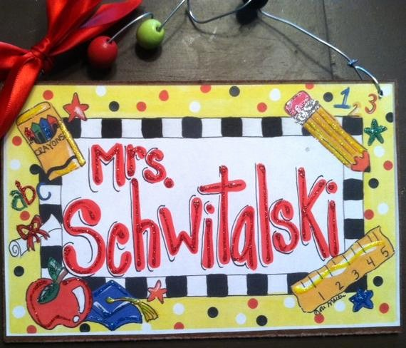 Teacher Name Signs for Classroom Awesome Hand Personalized Teacher Classroom Name Sign