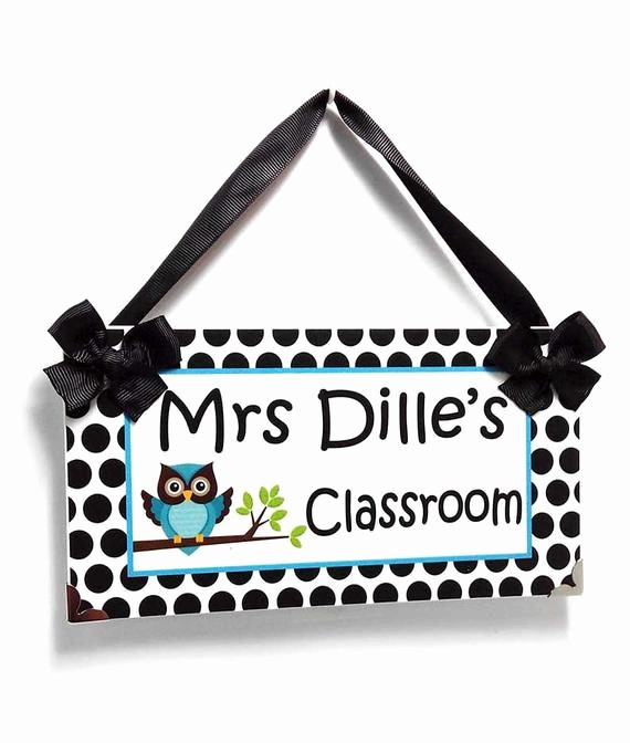 Teacher Name Signs for Classroom Awesome Owl Teacher Sign Custom Teacher Name Classroom Door Sign