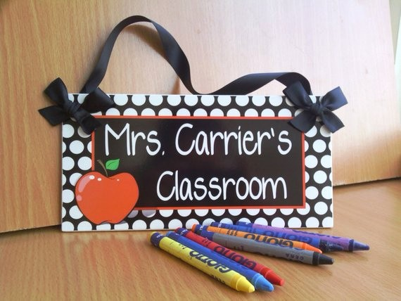 Teacher Name Signs for Classroom Awesome Personalized Teacher Name Classroom Door Sign White by