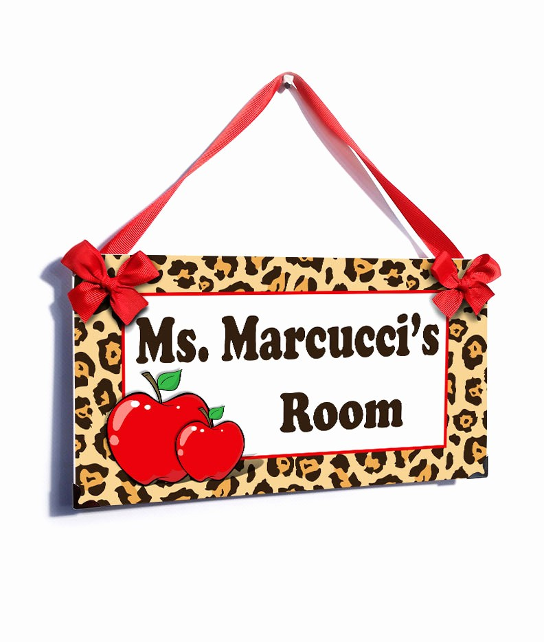 Teacher Name Signs for Classroom Beautiful Personalized Teacher Name Classroom Door Sign Leopard Red