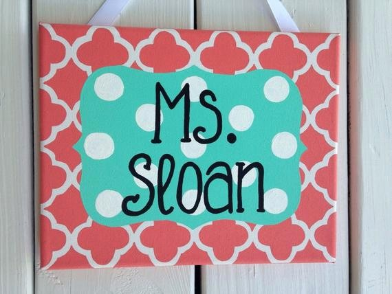 Teacher Name Signs for Classroom Best Of Coral and Aqua Teacher Name Sign Classroom Door Sign Teacher